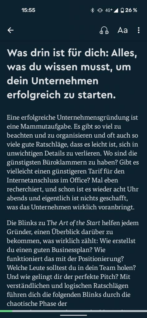 Blinkist Text lesen