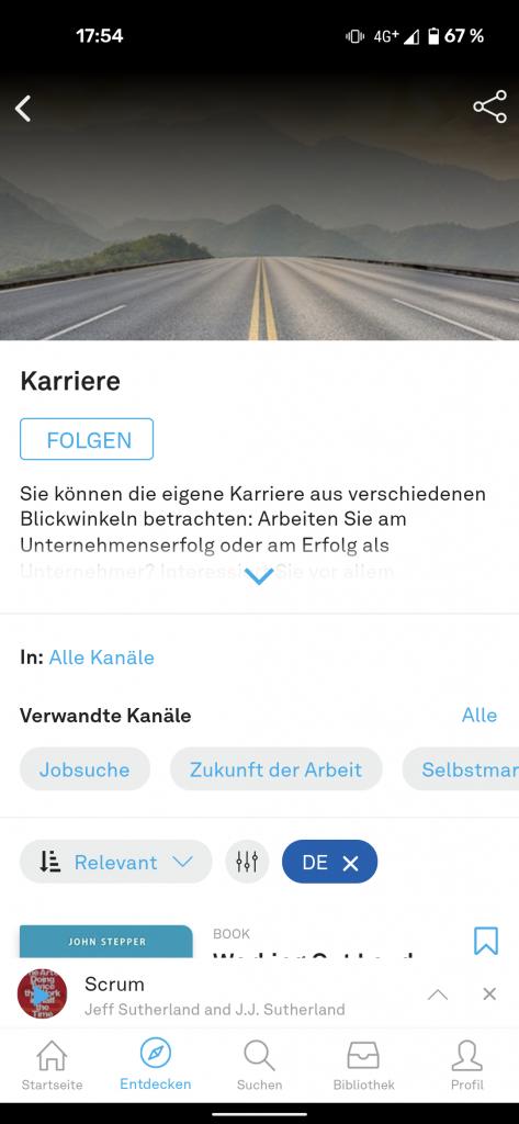 Kanäle in der App